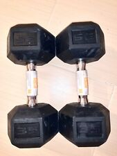 (Set of 2) 35 lb POUND DUMBBELL SET RUBBER COATED HEX WEIGHTS CAP NEW SHIPS ASAP