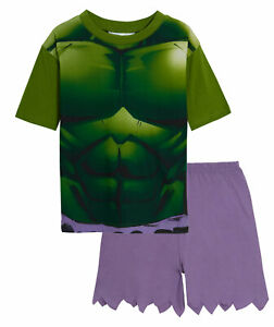 Boys Hulk Dress Up Short Pyjamas Kids Marvel Avengers Novelty Shortie Pjs Set