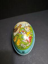 Vintage J Chein Easter Egg Tin Litho Bunny Rabbit