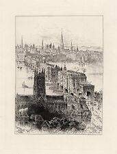 "Famous Original 1800s Herbert RAILTON Etching ""Ancient London Bridge"" SIGNED COA"
