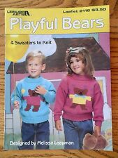 Playful Bears 4 Sweaters to Knit Leisure Arts 2116 Melissa Leapman 1991 Size 2-6