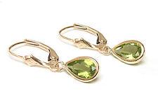 9ct Gold Peridot Teardrop LeverBack Earrings Gift Boxed Made in UK