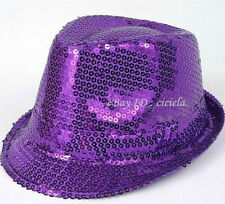 BLUE SEQUIN FEDORA HAT sparkle NEW dance cap fedoras dressup costume dancing