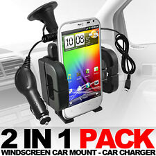 WINDSCREEN CAR MOUNT AND CAR CHARGER FOR HTC SENSATION XL
