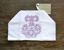 Hand Embroidered Victorian Pattern White & Lilac Boutique Tissue Box Cover