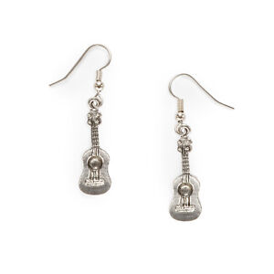 Ukulele Charm Earrings silver pewter surgical steel wires USA-made