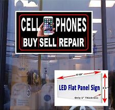 Cell Phones Buy Sell Repair LED light up sign 48x24  New Flat panel design