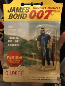 Vintage Gilbert 1965 James Bond 007 Sean Connery  Collectible figure & Rifle MOC