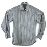 Turnbull And Asser Mens 15 Blue Striped Standard Cuff Dress Shirt