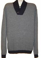 Paul Smith Gray Navy Lining Cotton Wool Men's Sweater Sz XL NEW