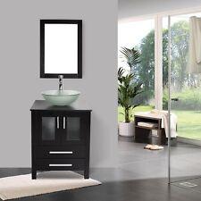 "Bathroom 24"" Vanity Cabinet Round Basin Glass Vessel Sink Bowl Faucet Mirror Set"