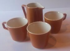 Set of 3 Butterscotch Tea Cups with Creamer Pitcher