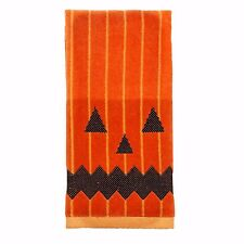 Halloween Pumpkin Face Jack o lantern Striped Bath Hand Towel 16x25 CUTE NWT