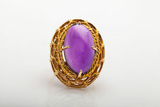 Antique 1940s $3400 20ct Natural Amethyst 14k Yellow Gold Cocktail Ring BIG 10g