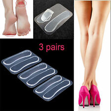 3 Pairs Gel Silicone Heel Grip Back Liner Shoe Insole Pad Foot Care Protector