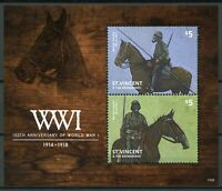 St Vincent & Grenadines 2014 MNH WWI WW1 First World War Cavalry 2v S/S Stamps