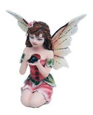 "Miniature Garden Fairy Whispering Ladybug Figurine 3"" H Small Faery Collection"