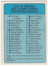 1974-75 OPC WHA HOCKEY #53 CHECKLIST - VERY GOOD