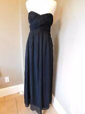 NWT J Crew Petite Taryn Long Dress Silk Chiffon Black Sz 4 4P P4 $350