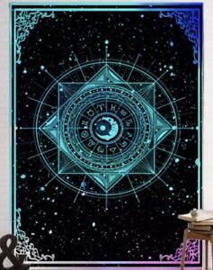 "NEW 60""x52"" Celestial Sun Moon Stars Teal Blue Hombre Black Tapestry Wall Decor"