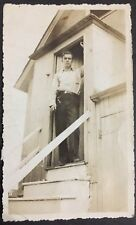 Photo Man Standing In Doorway Stairs House 1940's Button Down Shirt Slacks