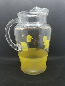 Vintage Glass Pitcher With Yellow tulips