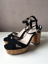 SHELLY'S ladies black platform sandals size 6/39 NEW
