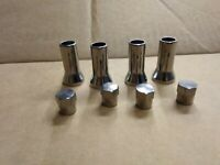 CHROME SILVER Wheel Tyre Valve Caps Stem Covers 27mm Alloy with dust caps X4