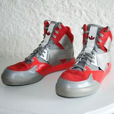 USED ADIDAS RED GRAY HIGH TOP SIZE 6.5 = MEN'S ATHLETIC SHOES STYLE# C77118