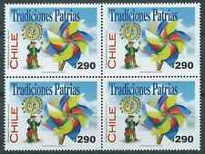 CHILE 2002 Traditions swirl paper MNH block of 4