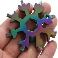 18-In-1 Multi Tool Stainless Snowflake Shape Key Chain Screwdriver Colorful Tool