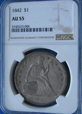 """*VERY STUNNING 1842 SEATED LIBERTY DOLLAR """"SUPER COLOR"""" AU-55 NGC*"""