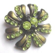 Broche originale Bijou style vintage couleur bronze cristaux diamant vert 3228