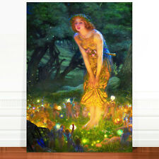 "Edward Robert Hughes, Midsummer's Night Fairy ~ FINE ART CANVAS PRINT 24x16"""