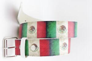 Men Women Western Classic Mexico Flag Belt Hip Waist Silver Metal Buckle Size XL