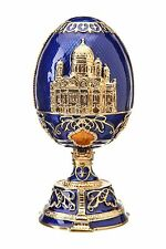 Russian Faberge Egg Christ the Savior Cathedral Moscow 4.7'' (12cm) blue