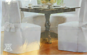 Dining Room Chair Cover Solid White with Ties New Table Attire Floor Length Poly
