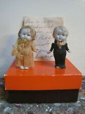 "Vintage 2 3/4"" Couple Bisque BRIDE GROOM Dolls Wedding CAKE TOPPERS Japan"