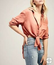 FREE PEOPLE Thats a Wrap NWOT Peach Oversized Shirt XS RRP $130 **SNAG ON CUFF**