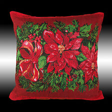 """RED CHRISTMAS POINSETTAS TAPESTRY BOTH SIDES THROW PILLOW CASE CUSHION COVER 17"""""""