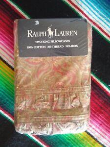 New Vintage Ralph Lauren Set of 2 King Pillowcases Ruffle Bridget Pink USA 1990s