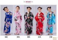 Retro Kimono Japanese children peacock Retro Cosplay Bathrobe Dress Yukata
