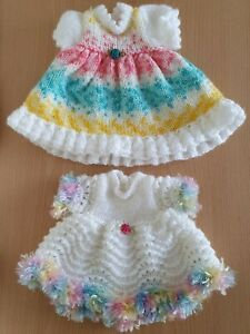 """Doll Clothes ~ 2 Hand Knitted Dresses for a 16"""" Doll ~ Fit Tiny Tears"""