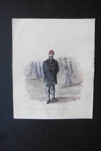 FRENCH SCHOOL 1867 - AN OTTOMAN GENTLEMAN IN PARIS - SPECIAL WATERCOLOR