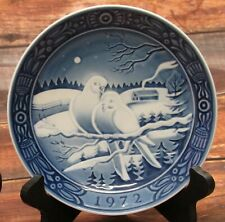 Georg Jensen Inc, Blue White 1972 Porcelain Plate First Issue Snow Dove 7.25""