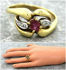 Ladies Antique Victorian 1890s 18K 750 Yellow Gold Ruby Diamond Band Ring