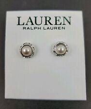 Ralph Lauren Silver Tone Faux Pearl & Crystal Stud Earrings - Free Shipping