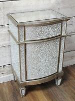 Silver Crackle Cabinet Broken Glass Mosaic Storage Bedside Table Cupboard Unit