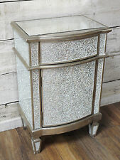 Silver Crackle Cabinet Broken Glass Mosaic Storage Bedside Table Cupboard Unit