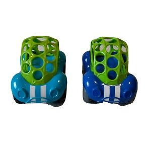 OBall 81510 Green Blue White Stripe Rattle Tire Hole Car Kids Toddler Toy LOT 2